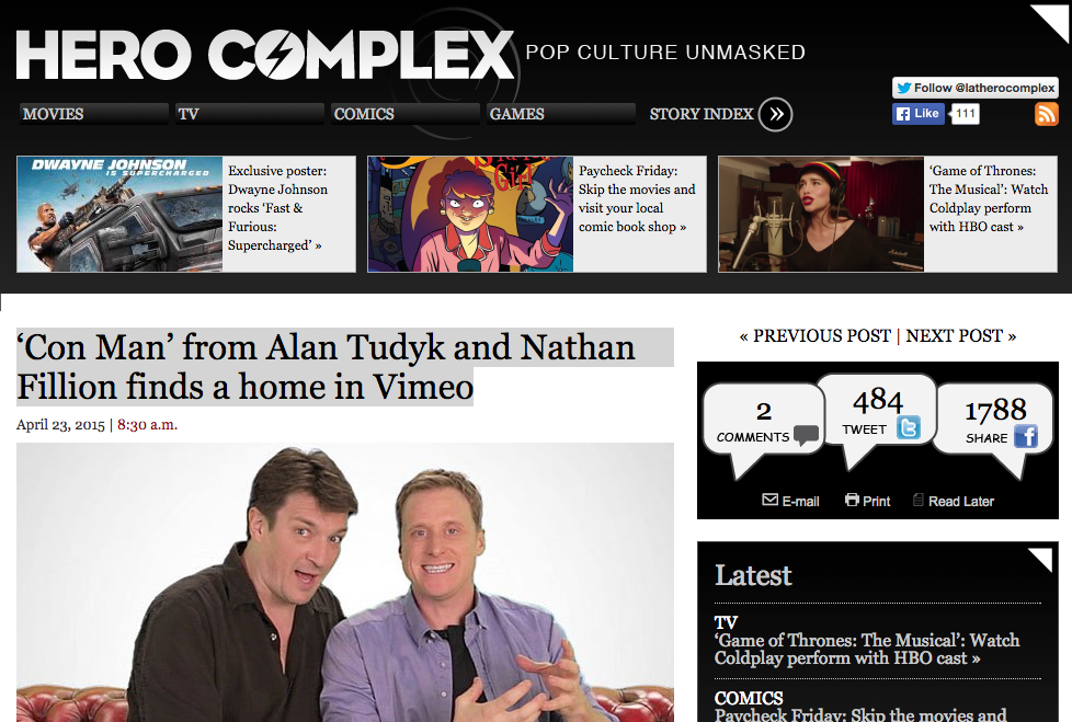 Hero Complex - 'Con Man' from Alan Tudyk and Nathan Fillion finds a home in Vimeo