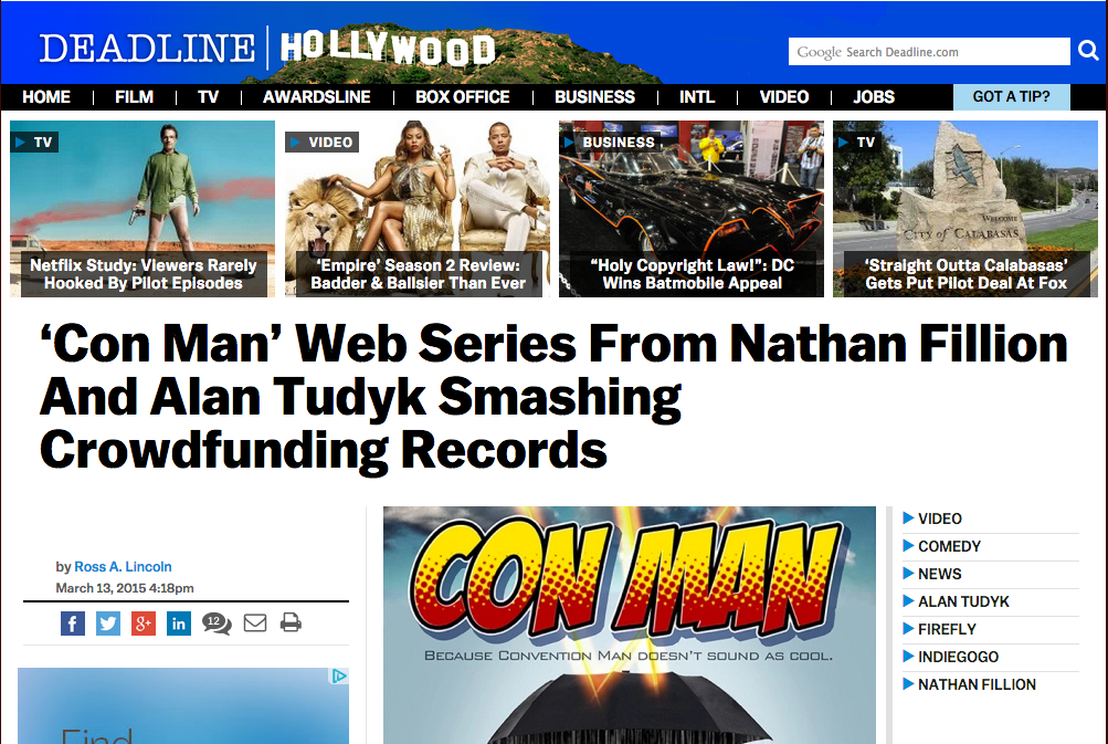 Deadline Hollywood - 'Con Man' Web Series From Nathan Fillion and Alan Tudyk Smashing Crowdfunding Records
