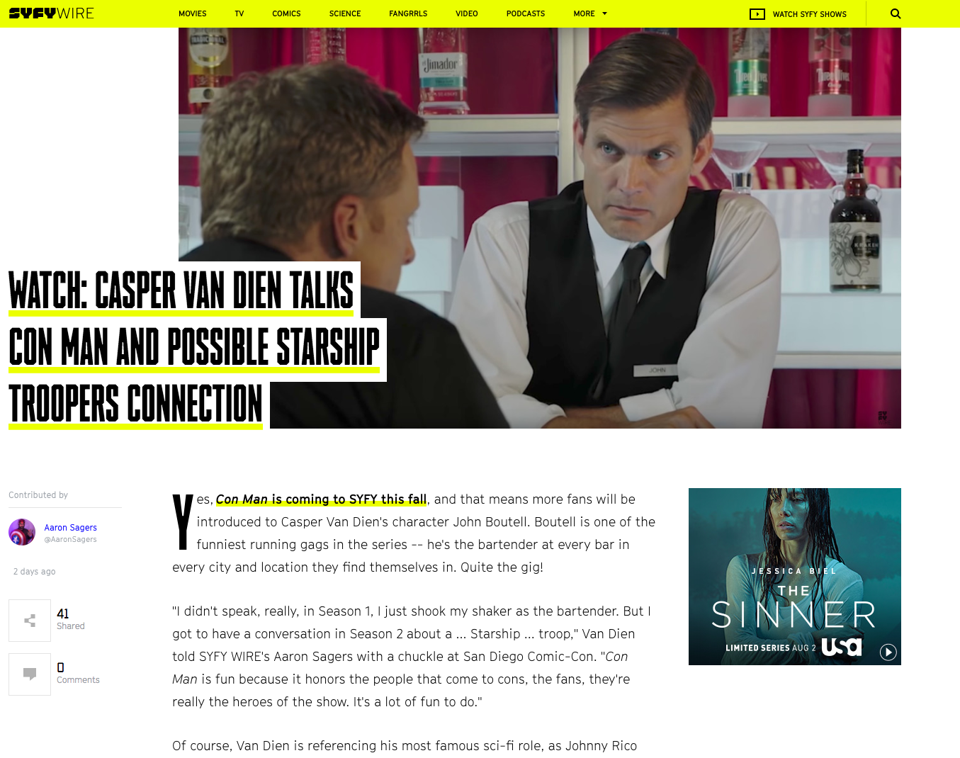 SYFY - WATCH: CASPER VAN DIEN TALKS CON MAN AND POSSIBLE STARSHIP TROOPERS CONNECTION