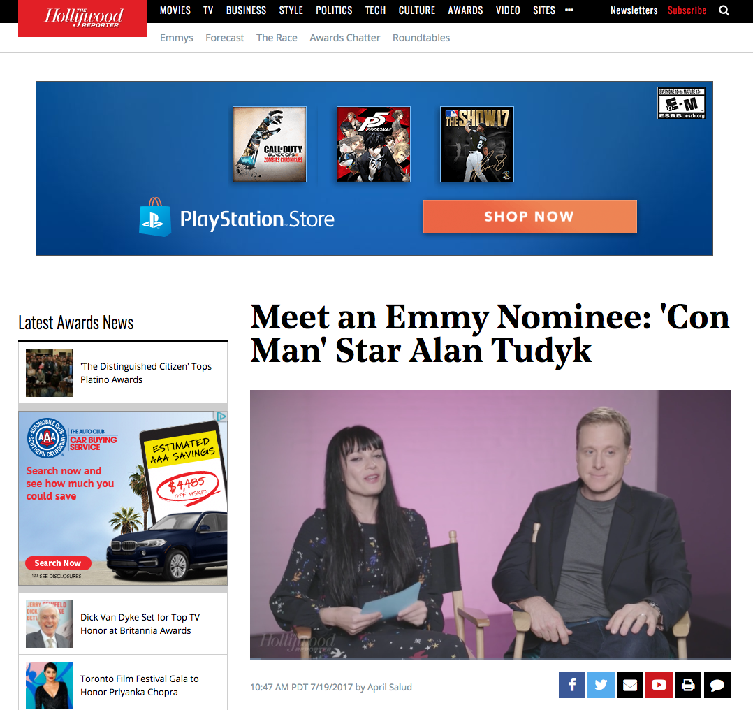 Hollywood Reporter - Meet an Emmy Nominee: 'Con Man' Star Alan Tudyk