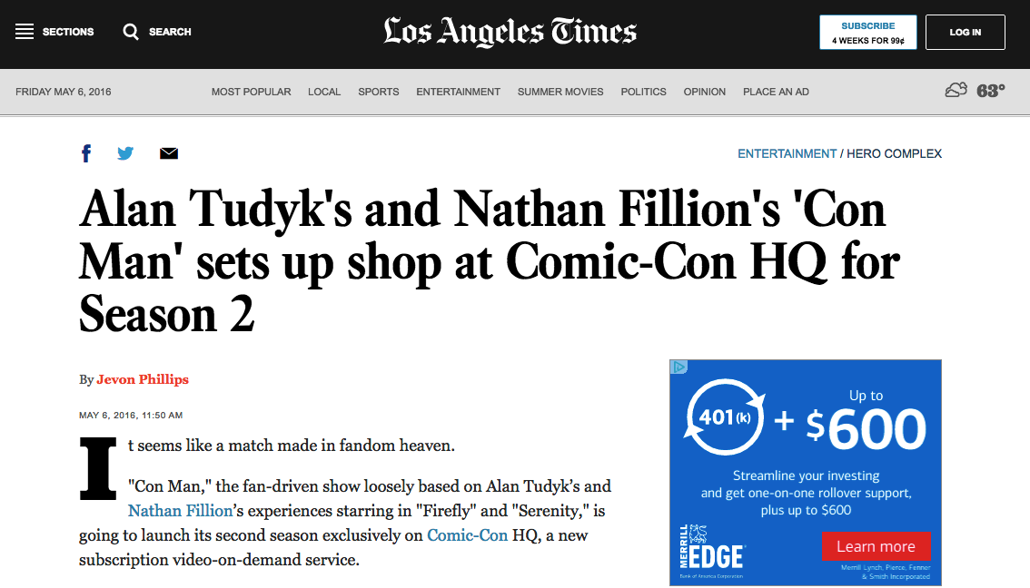 Los Angeles Times - Alan Tudyk's and Nathan Fillion's 'Con Man' sets up shop at Comic-Con HQ for Season 2
